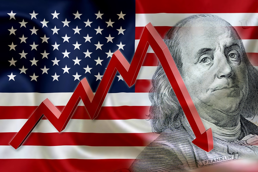 Photo of Flag of the United States of America with the face of Benjamin Franklin on US dollar 100 bill and a red arrow indicates the stock market enter recession period.